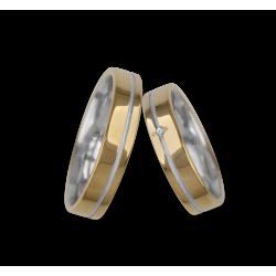 Fedi nuziali oro giallo con binario bianco un diamante modello vl540624