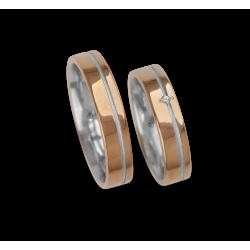 Обручальные кольца из розового золота с двоичной белый алмаз модели vo540624