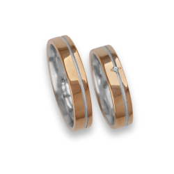 Wedding bands rose gold with white binary one diamond model vo540624