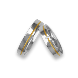 Wedding rings white gold with yellow binary one diamond model vl540624