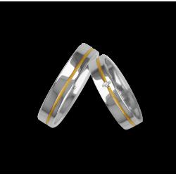 Обручальные кольца из белого золота с двоичной желтый алмаз модель vl540624