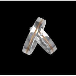 Fedi nuziali in oro bianco con binario rosa un diamante modello vp540624