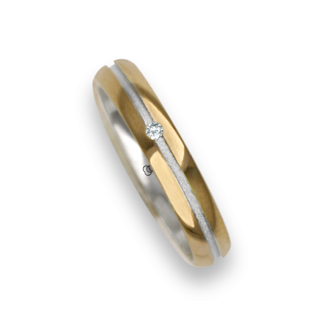 Ring / wedding ring in gold 18k two-tone rose and white one diamond model vo532624dw