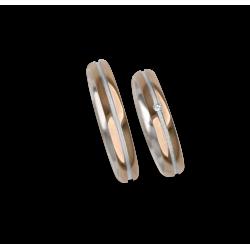 Fedi nuziali oro 18kt rosa e bianco, superficie bombata, finitura lucida modello vo532624