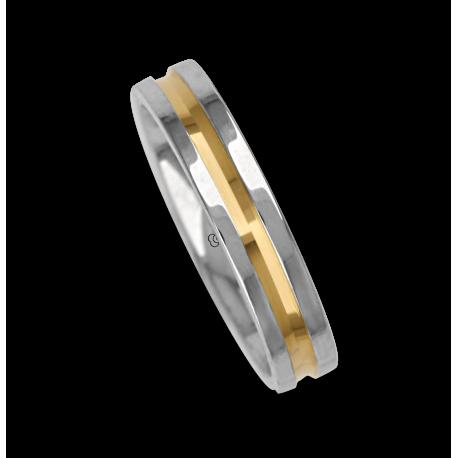 Ring / wedding ring in gold 18k white with yellow binary model al545624ew
