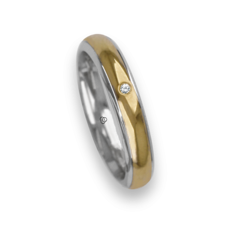Ring / wedding ring in gold 18k two-tone white and yellow diamon point patterns at the center model rl343922dw