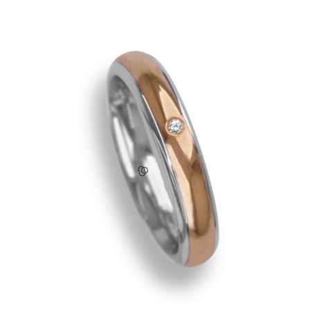 Ring / wedding ring in gold 18k two-tone white and yellow polished finish model al042924dw
