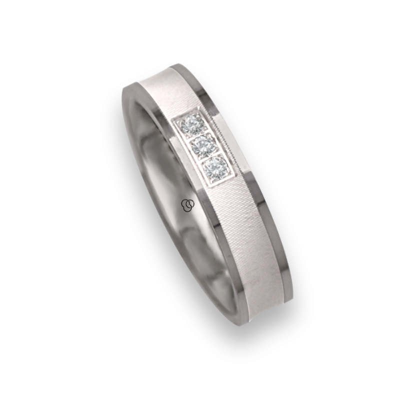Ring / wedding ring in white gold 18k polished and ice finish one diamant model jb240234dw