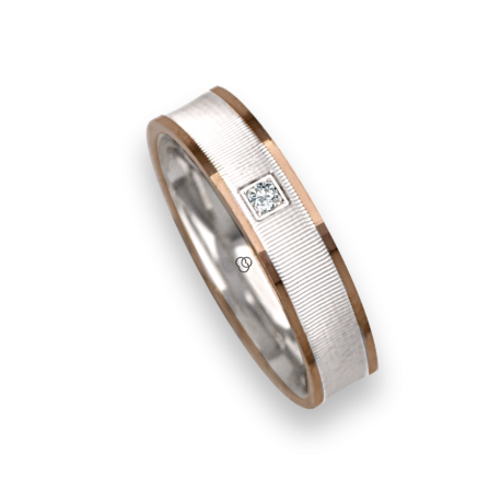 Ring / wedding ring in white gold 18k polished and soft point diamant three diamants model ggb549234dw