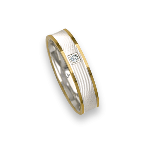 Ring / wedding ring in rose and white gold 18k polished and soft point diamant one model cco0544334dw