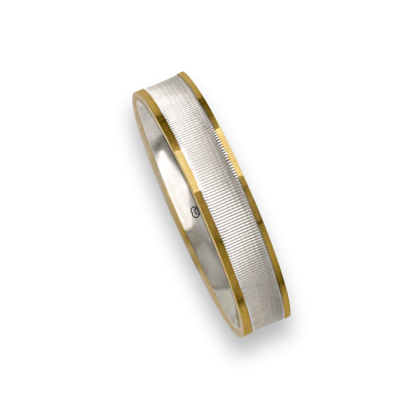 Ring / wedding ring in yellow and white 18 carate gold polished and soft point diamant model cci0544334dw