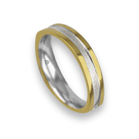 Ring / wedding ring in 18K yellow and white gold, slightly square shape, model vi043534dw