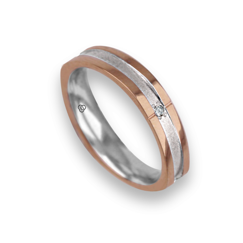 Ring / wedding ring in 18K rose and white gold, slightly square shape, model vo043534dw