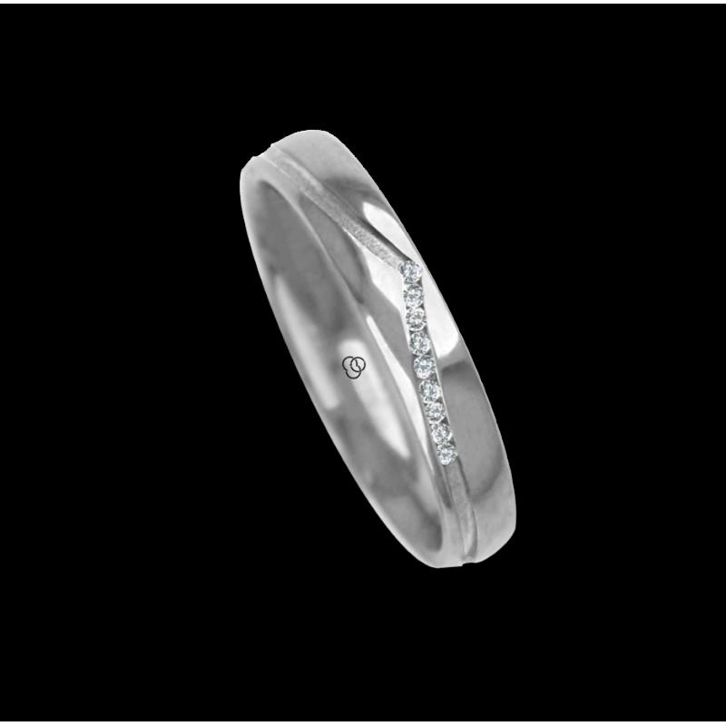 Ring / wedding ring in white gold 18 carat sandblasted finish at the center one diamond model vd527334dw