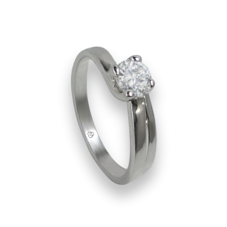 Solitaire ring in white Gold - diamond 0.50 ct - model Rodrigo