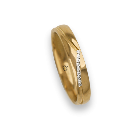Ring / wedding ring 18 carat yellow gold whale tail shape groove, nine diamonds model vd534544dw