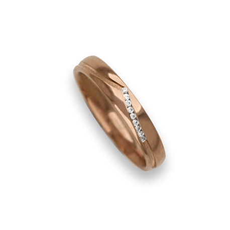 Ring / wedding ring 18 carat rose gold whale tail shape groove, nine diamonds model vq534544dw