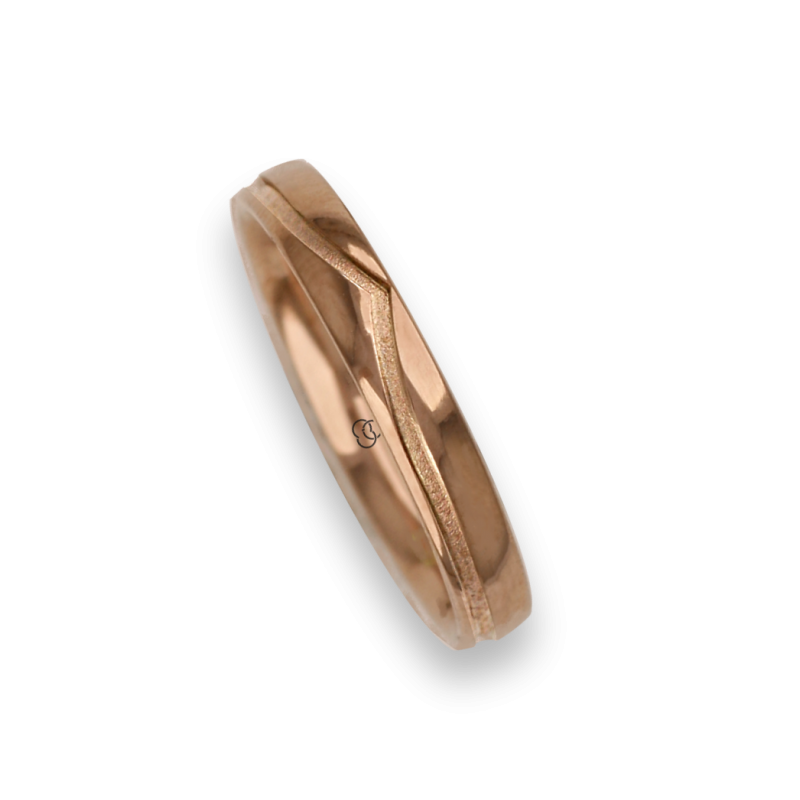 Ring / wedding ring 18 carat rose gold whale tail shape groove model vq534544ew
