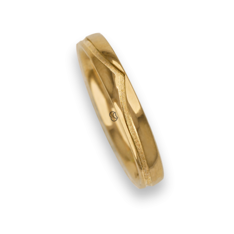 Ring / wedding ring 18 carat yellow gold whale tail shape groove model vg534544ew