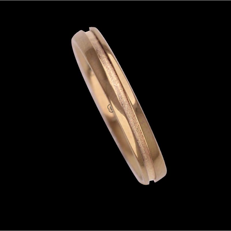 Ring / wedding ring 18 carat rose gold oblique groove model vq535544ew