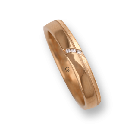 Ring / wedding ring yellow gold with groove tranversal, polished and sandblasted three diamonds model vg530944dw