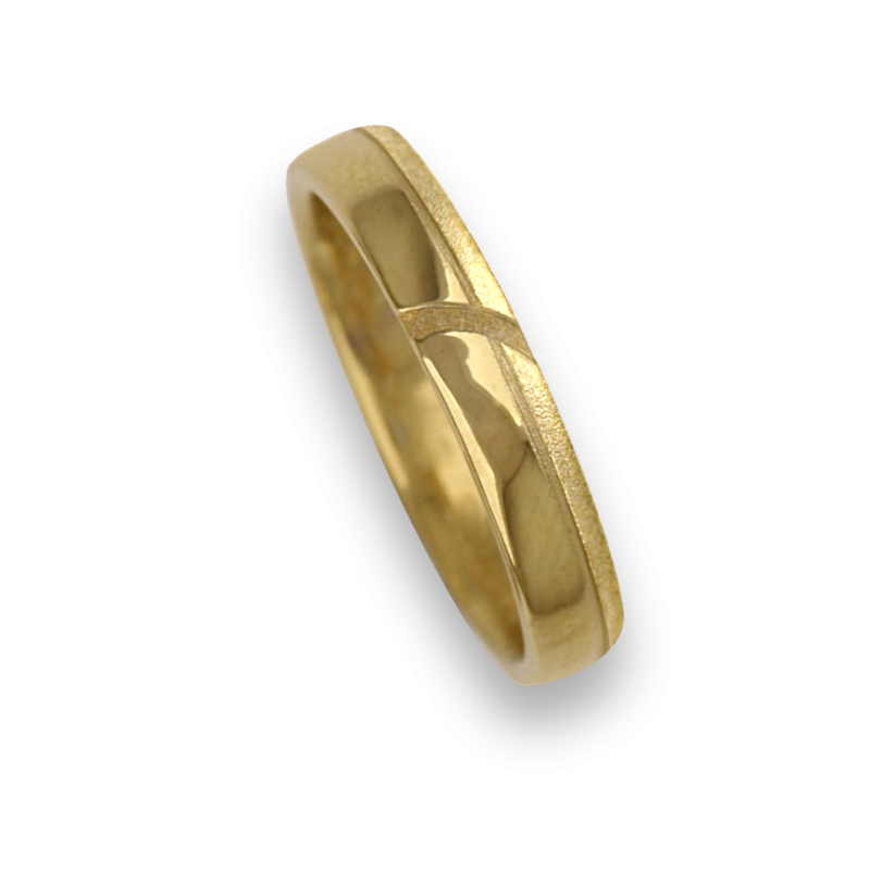 Ring / wedding ring yellow gold with groove tranversal, polished and sandblasted model vg530944ew