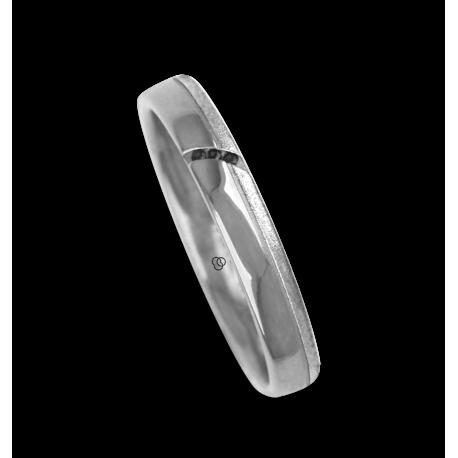 Ring / wedding ring white gold with groove tranversal, polished and sandblasted three black diamonds model vb530944dw_neri