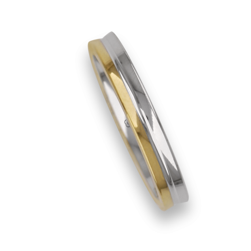 Ring / wedding ring white and yellow gold 18 carate polished finish model aa53105ew