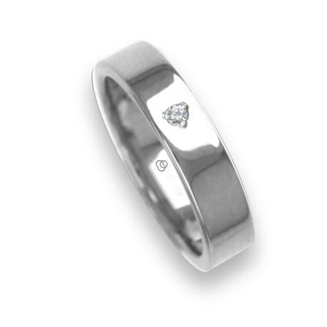 Ring / wedding ring 18 carat white gold flat surface and polished one diamond model ab54406dw