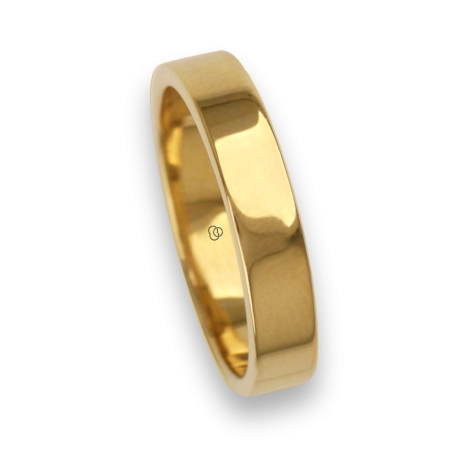 Ring / wedding ring 18 carat yellow gold flat surface and polished model ag54406ew