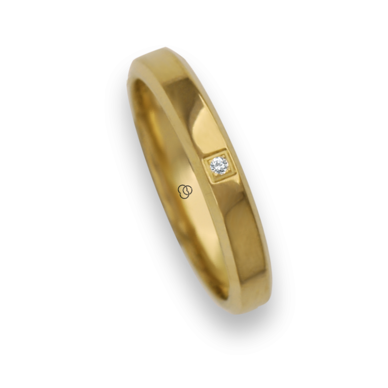 Ring / wedding ring 18 carat yellow gold flat surface bevelled edges one diamond model ag33859dw