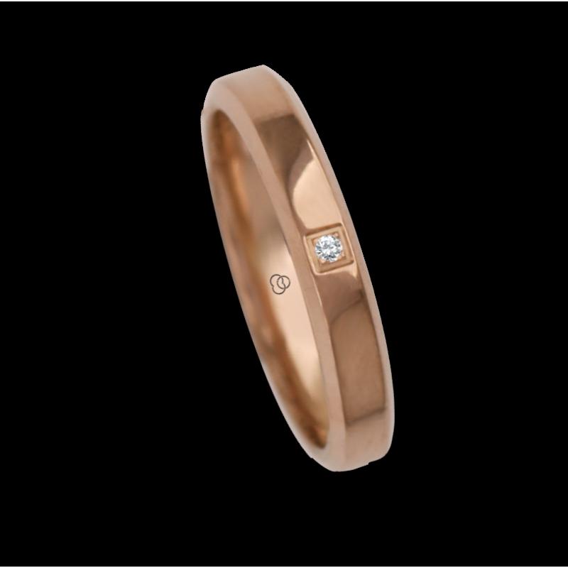 Ring / wedding ring 18 carat rose gold flat surface bevelled edges one diamond model aq33859dw