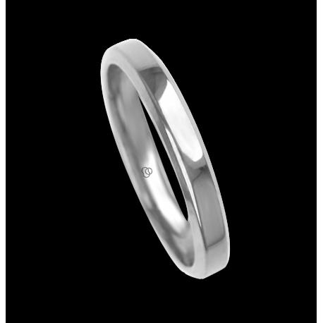 Ring / wedding ring 18 carat white gold flat surface bevelled edges model ab33859ew