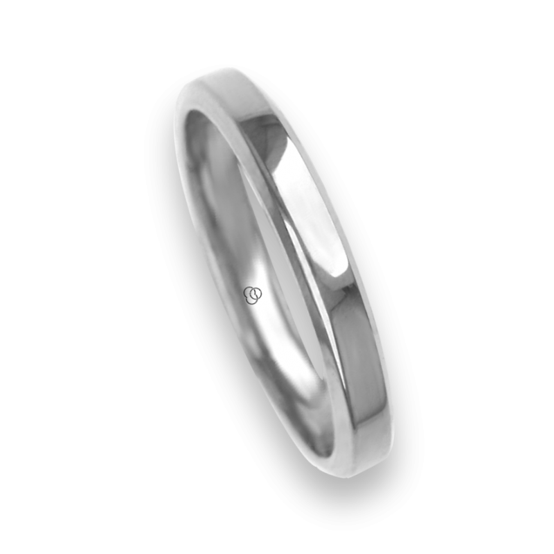 Ring / wedding ring 18 carat white gold flat surface bevelled edges model ab33859ew
