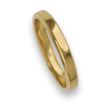 Ring / wedding ring 18 carat yellow gold flat surface bevelled edges model ab33859ew