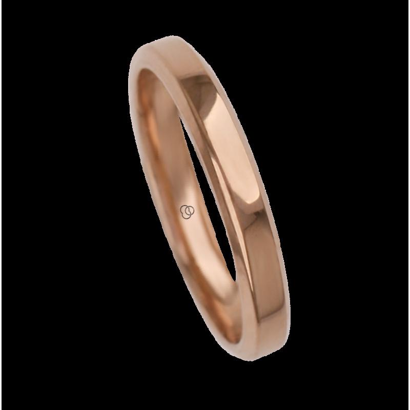 Ring / wedding ring 18 carat yellow gold flat surface bevelled edges model ab33859ew