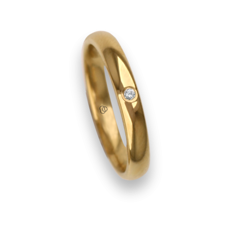 Ring / wedding ring 18 carat yellow gold rounded surface polished finish one diamond model ag230cdw