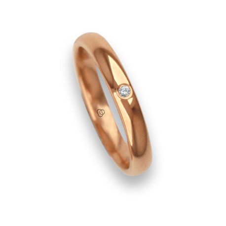 Ring / wedding ring 18 carat rose gold rounded surface polished finish one diamond model aq230cdw
