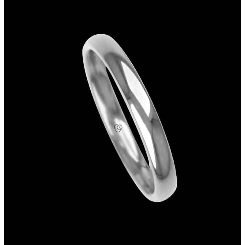 Ring / wedding ring 18 carat white gold rounded surface polished finish one diamond model ab230cdw
