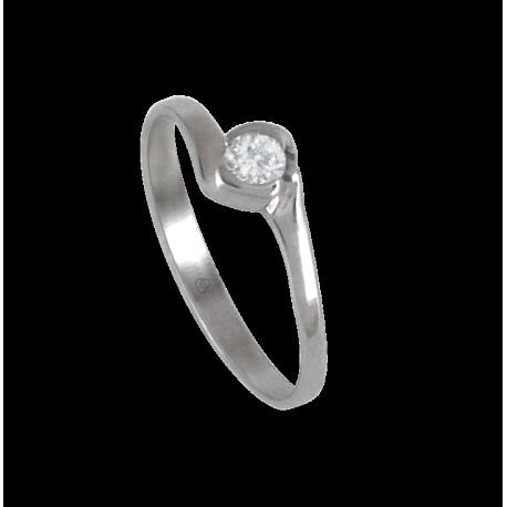 Anello solitario in oro bianco - diamante 0.13 ct - modello Elia