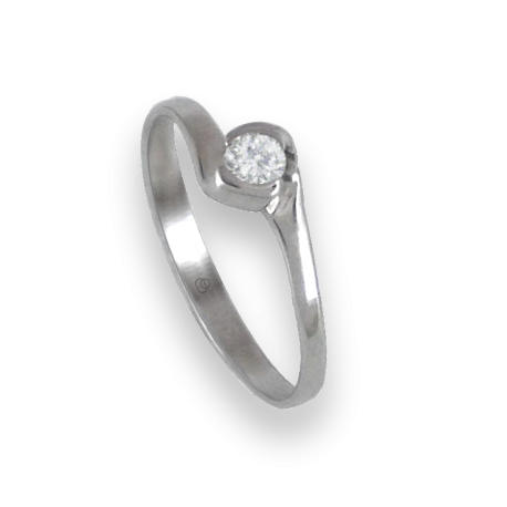 Solitaire ring in white Gold - diamond 0.13 ct - model Elia