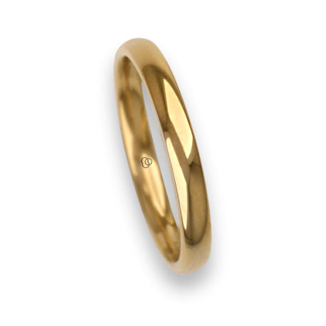 Ring / wedding ring 18 carat yellow gold rounded surface polished finish model ag230cew