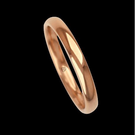 Ring / wedding ring 18 carat rose gold rounded surface polished finish model aq230cew