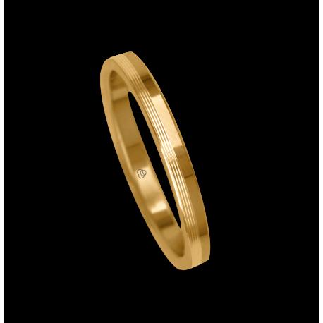 Ring / wedding ring 18 carat yellow gold flat surface partiallay striped model eg5277ew