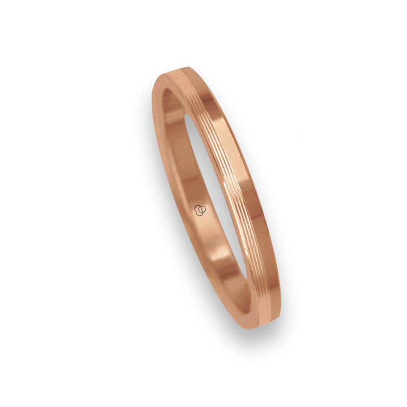 Ring / wedding ring 18 carat rose gold flat surface partiallay striped model eq5277ew