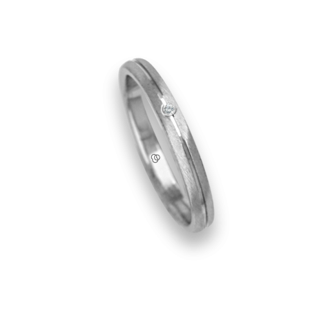 Ring / wedding ring 18 carat white gold rounded surface polished finish one diamond model ab230cdw
