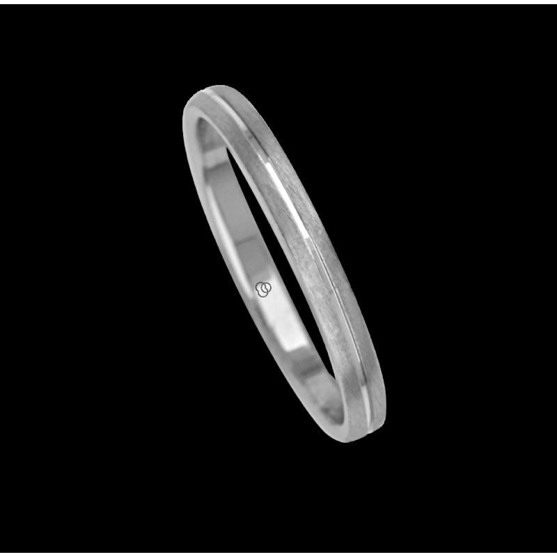 Ring / wedding ring 18 carat white gold satin finish center canal one diamond model bb5238dw