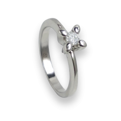 solitaire ring in white Gold - diamond 0.16 ct - model Basilio
