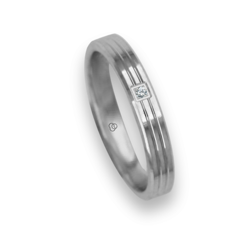 Ring / wedding ring 18 carat white gold polished finish two middle canals one diamond model ab3209dw