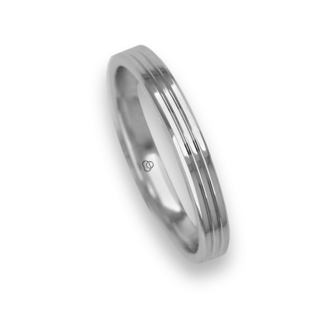 Ring / wedding ring 18 carat white gold polished finish two canals one diamond model ab0339dw